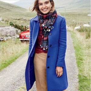 J. CREW ROYAL BLUE DOUBLE CLOTH LADY DAY COAT